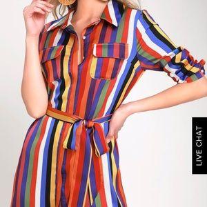 NWT Lulus Amuse Me Rainbow Dress sz S